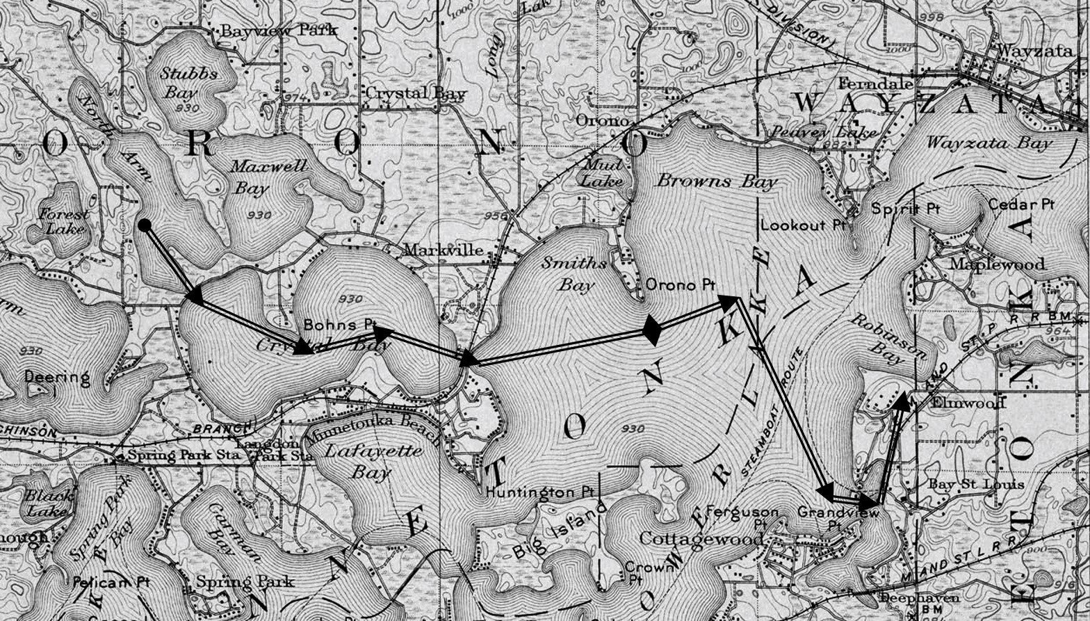 Route map of the White Swan 1859
